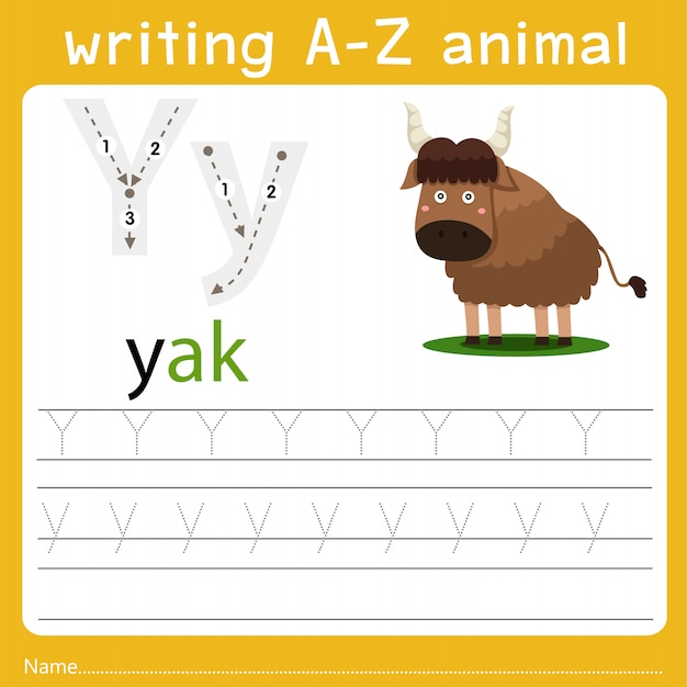 Writing a-z animal y