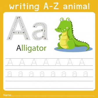 Writing a-z animal a