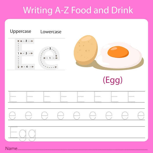 Writing a-z food and drink. handwriting practice