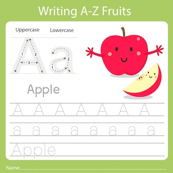 Writing a-z fruits a is apple