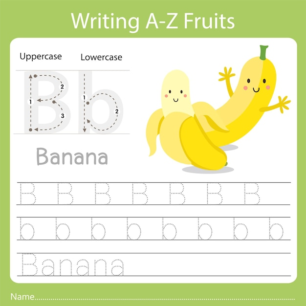 Writing a-z fruits a is banana
