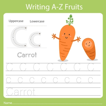 Writing a-z fruits a is carrot