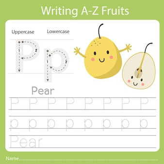 Writing a-z fruits a is pear