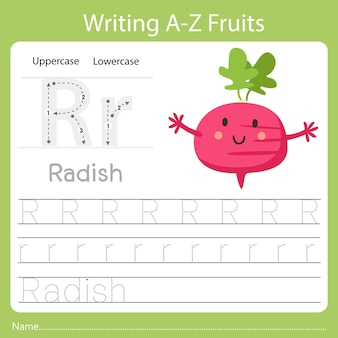 Writing a-z fruits a is radish
