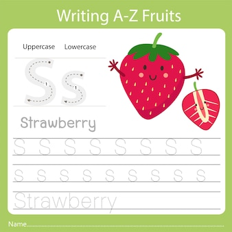 Writing a-z fruits a is strawberry