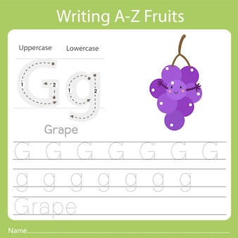 Writing a-z fruits, with the word grape