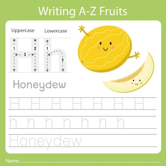 Writing a-z fruits, with the word honeydew