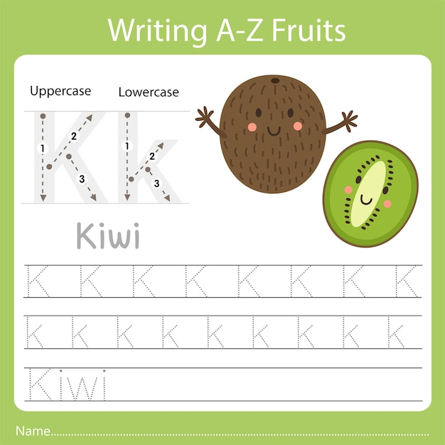 Writing a-z fruits, with the word kiwi