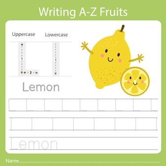 Writing a-z fruits, with the word lemon