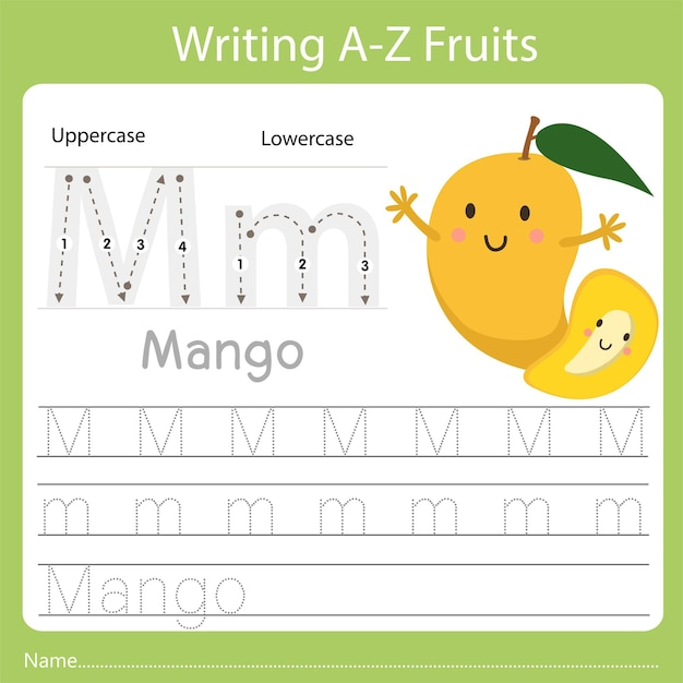 Writing a-z fruits, with the word mango