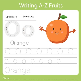 Writing a-z fruits, with the word orange