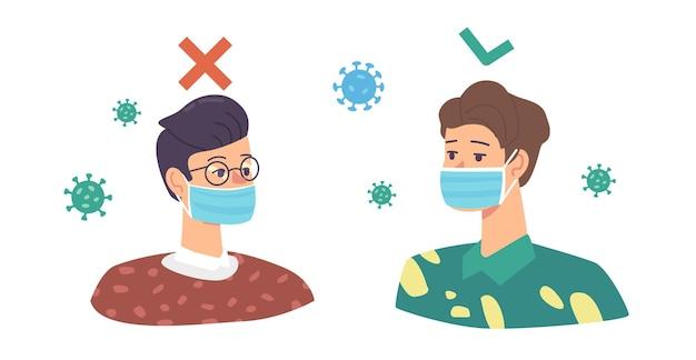 보호용 페이셜 마스크를 착용하는 잘못된 방법과 올바른 방법. 먼지나 코로나바이러스 세포로부터 보호하는 남성 캐릭터 주위를 날아다닌다