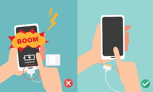 間違った正しい方法。バッテリーの充電イラストでスマートフォンを再生しないでください。