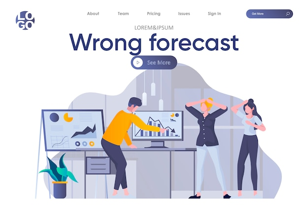 Wrong forecast landing page with header. depressed and shocked people look at falling down chart in office scene. company cost reduction, business failure and finance crisis flat illustration.
