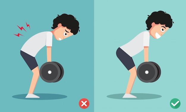 Wrong and right lifting weight posture