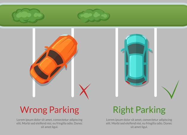 Wrong and right parking cars