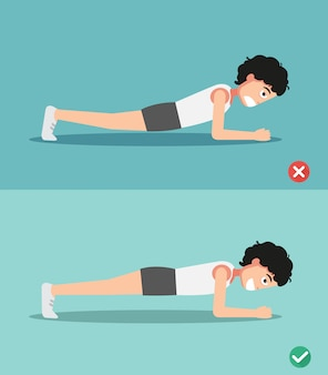 Wrong and right plank posture,