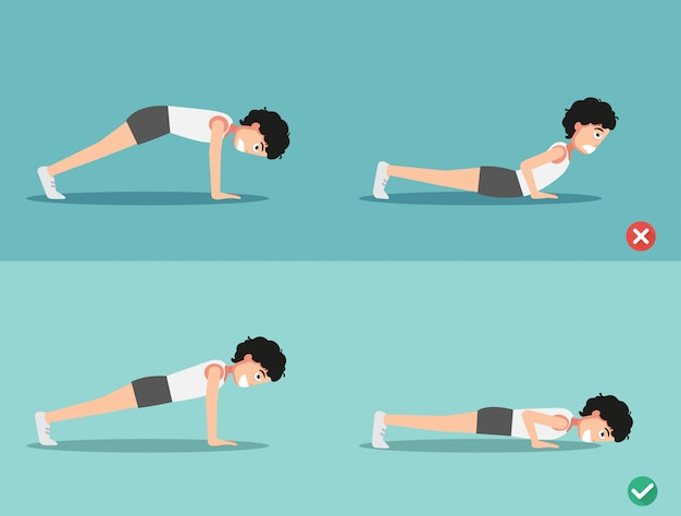 Wrong and right push-up posture,vector
