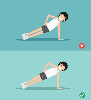 Wrong and right side plank plank posture