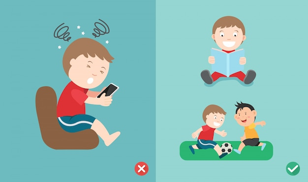 Wrong and right way for kids stop using smartphone