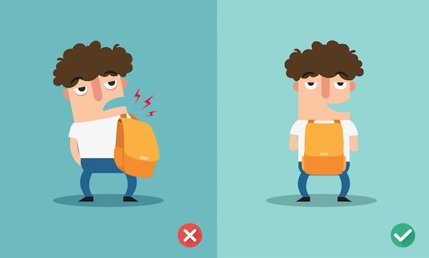 Wrong and right ways for backpack standing illustration