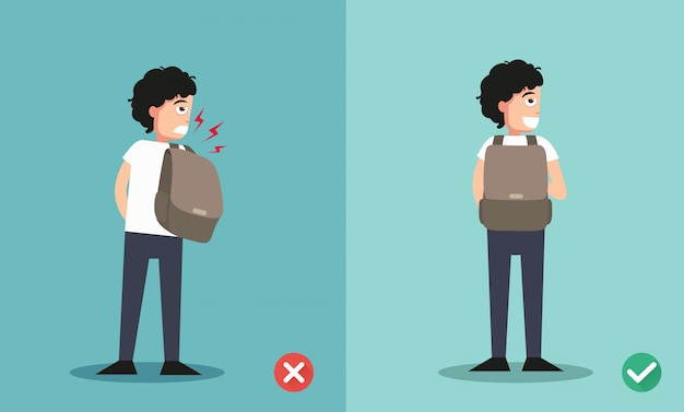 Wrong and right ways for backpack standing