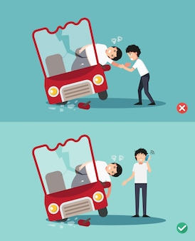 Wrong and right ways first aid ,illustration