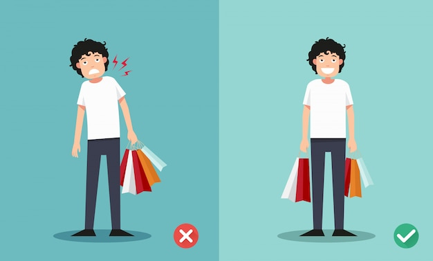 Wrong and right ways for holding shopping bags