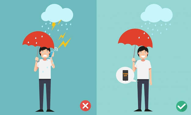 Wrong and right ways.do not phone call while raining  illustration.