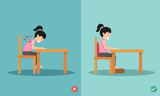 Wrong and right ways positions for sitting writing on book,illustration