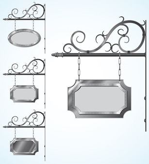 Wrought iron old signs