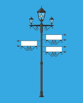 Wrought iron street lamp with empty sign