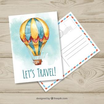 Шаблон открытки для путешествий с воздушным шаром wtercolor