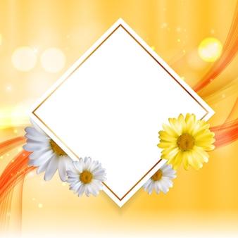 抽象的な自然の花のフレームの背景wthカモミールの花。ベクトルイラスト