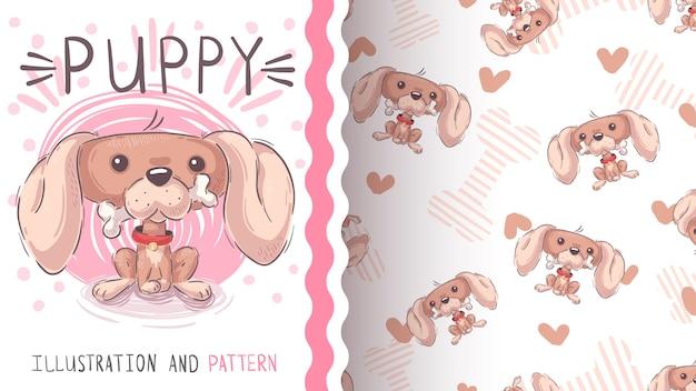 かわいい犬wth骨-シームレスなパターン