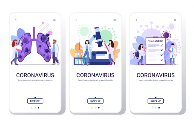 Wuhan 2019-ncov set doctors inspecting lungs holding vaccine syringe analyzing coronavirus sample phone screens collection mobile app full length horizontal