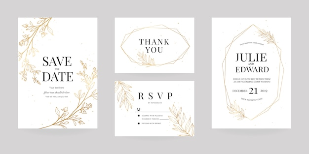 Wwedding invitation, rsvp card, thank you card template
