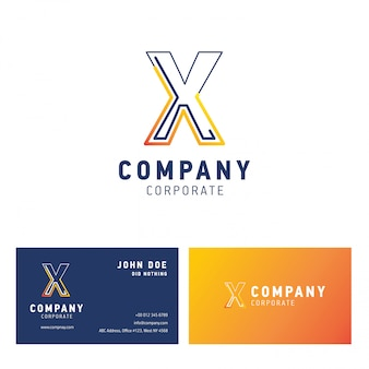 X company logo design with visiting card vector