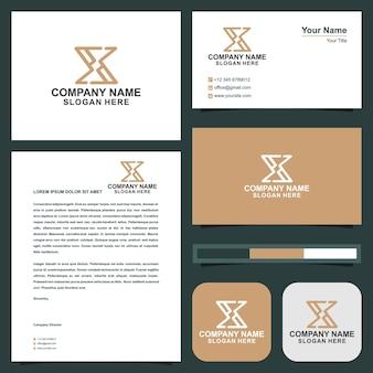 X文字のデザインと名刺プレミアムベクトル