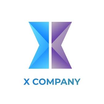 X 편지 그라데이션 현대 유행 벡터 로고 디자인