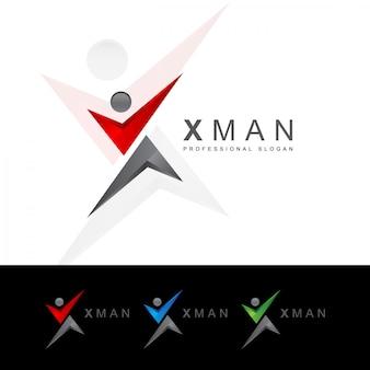 X letter human logo
