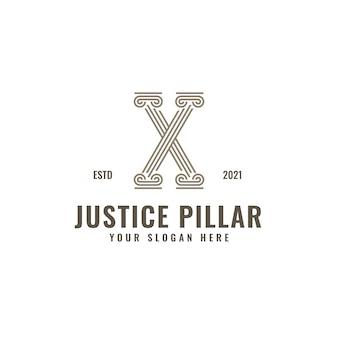 X文字ロゴ法と正義の柱エレガントな大胆な幾何学的なラインアート