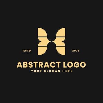 X文字豪華なゴールドの幾何学的なブロックの概念のロゴベクトルアイコンイラスト