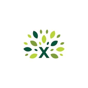 X文字ツリー葉自然マーク緑のロゴベクトルアイコンイラスト