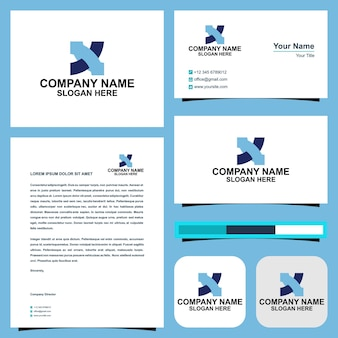 X logo and business card