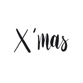 X mas handwritten typography style vector