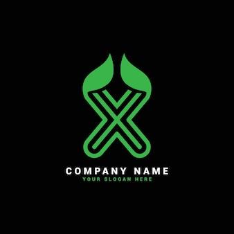 Xナチュラルレターロゴ、葉付きxレターロゴ、エコ、植物