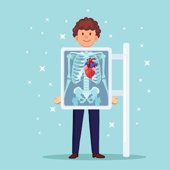 Рентгеновский аппарат для сканирования человеческого тела. рентген грудной клетки. диагностика сердца