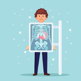 인체 스캔 용 x-ray 기계. 가슴 뼈의 뢴트겐. 위 초음파