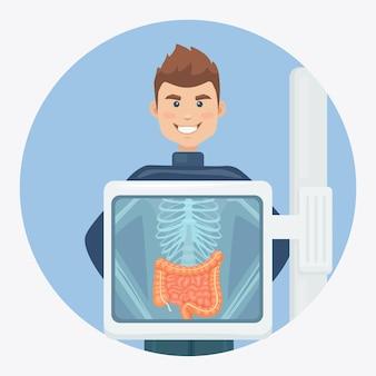 X-ray machine for scanning human body. roentgen of chest bone. ultrasound of intestines, guts.